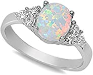 Oxford Diamond Co Lab Created White Opal & Cubic Zirconia Fashion Ring Sizes