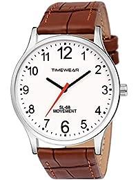 TIMEWEAR Analogue Men's Watch (White Dial Brown Colored Strap)