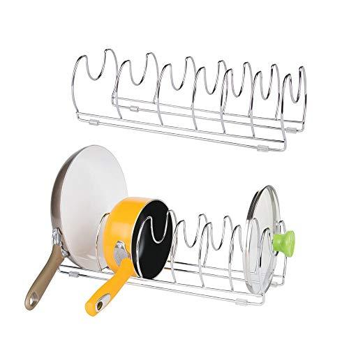 mDesign Pfannenhalter – praktischer Topfdeckelhalter – vielseitiger Geschirrständer – verchromtes Metall - 2er Set