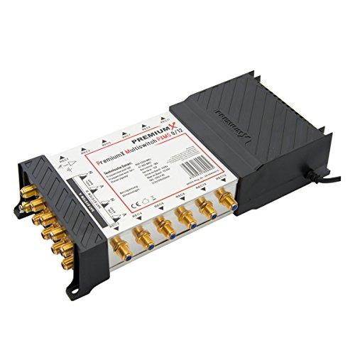 PremiumX Multischalter PXMS-9/12 Multiswitch Matrix 9-12 mit Netzteil für 12 Teilnehmer Switch Sat Digital FULLHD 3D UltraHD