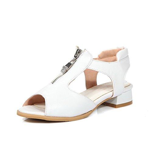 VogueZone009 Damen Pu Leder Rein Reißverschluss Fischkopf Schuhe Niedriger Absatz Sandalen Weiß