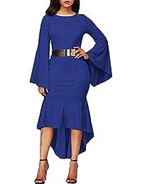 Oudan Robe de Soiree élégante pour Femmes avec Manches Trompette et Queue  de Pie Baodycon avec 3abbea9defe