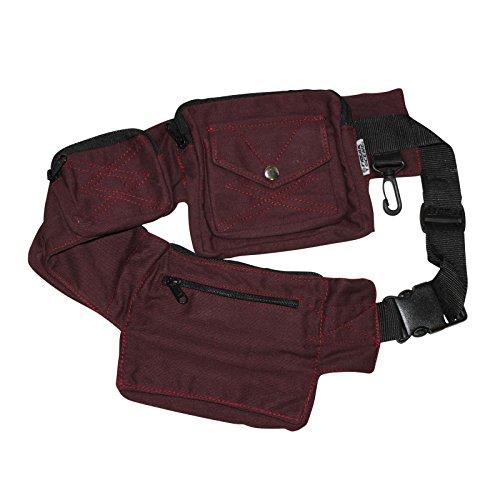 Freak Scene® Tasche ° Gürteltasche ° Jimi ° Bauchtasche ° Hüfttasche mit mehreren Taschen, alle Farben!!! rot-bordeaux