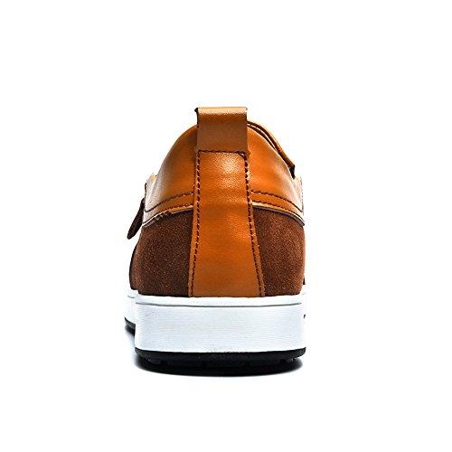 Mens Casual Flache Leder Loafers Driving Slip auf Low-Top-Schuhe Lightweight Faul Invisible Höhe Erhöhung Schuhe 2,36 Zoll Taller für Mann Braun