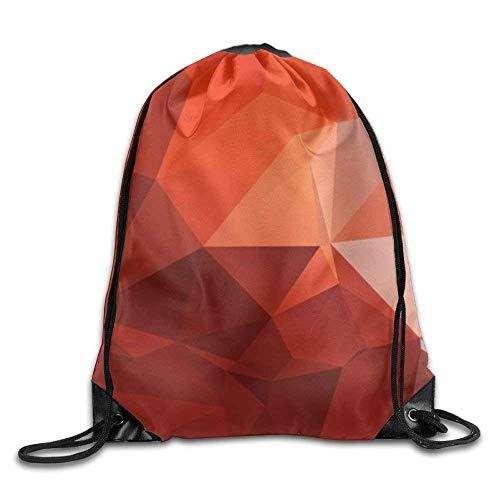 uykjuykj Tunnelzug Rucksäcke, Drawstring Backpack Kids Adults Waterproof Bag for Gym Traveling Orange and Red Diamond Lightweight Unique 17x14 IN -