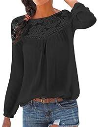 26414c9221 PAOLIAN Blusa de Mujer Otoño 2018 Blusa con Encaje de Hueco Transparentes Manga  Largas Ropa para Mujer Sólido Camisetas Ancho Camisas…