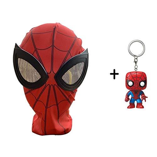 BGHKFF Spiderman Maske Kind Erwachsener Mottoparty Helm Halloween Cosplay Hüte Karneval Schminke Zubehör Kopfbedeckung + PVC Schlüsselanhänger,Adult1-2 (Lycra Gewebe Für Tanz Kostüm)