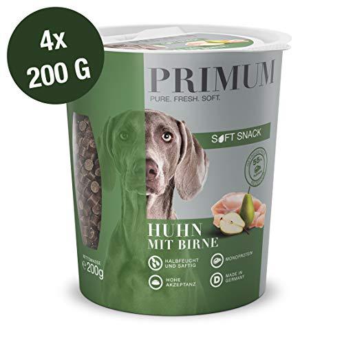 Primum | 800 g | Soft Snack für Hunde | Huhn mit Birne | Monoprotein | Getreidefreie Rezeptur | Hoher Fleischanteil (55%) | Made in Germany | Halbfeucht und saftig | 28% Restfeuchte