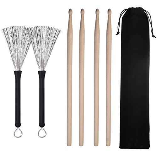 Preisvergleich Produktbild 2 Paar 5A Drumsticks, Klassisch Ahornholz Drumsticks Sets mit 2 Paar Drum Drahtbürsten Einziehbar Drum Sticks Pinsel Geeignet für Musiker