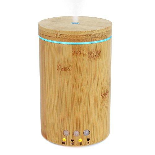 pawaca natürlichem echten Bambus ätherisches Öl Diffusor 150ml Ultraschall-Aromatherapie Diffusoren mit 7LED-Leuchten und wasserloses Automatische Abschaltung für Home Office Spa (Ultraschall-öl Diffusoren)