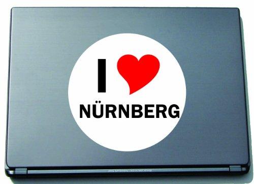 Indigos I Love Aufkleber Decal Sticker Laptopaufkleber Laptopskin 210 mm mit Stadtname NUERNBERG