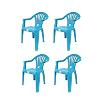 """Brights"" 4 x Blue Plastic Stackable Chairs for Kids For Indoor or Outdoor Use 50x36x27cm"