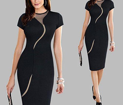 Smile YKK Femme Robe Elégante Col Rond Manche Courte Robes de Soirée Anniversaire Cérémonie Charmant Noir