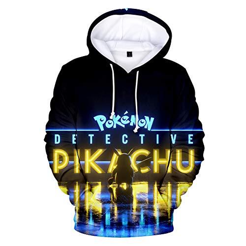 WYDHHLD Hoodies 3D Monster Print Sweatshirts Poke-mon Anime Pullover Tops mit Taschen Unisex für Männer Frauen,M (Monster Hoodies Für Männer)
