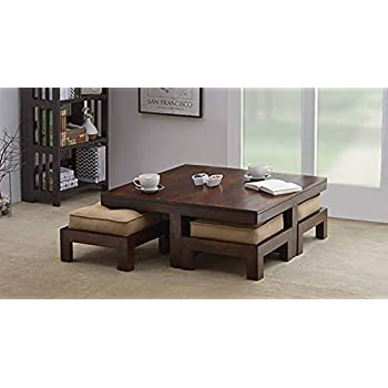 Urban Wood Square Sheesham Wooden Center Table for Living Room with 4  Stools , Beige Cushions (Brown)
