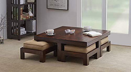 VeroniQ Trends - Natural Finish Coffee Table Set with 4 STOOLS and 4 Cushions 100% Wood (30 x 30 inch, Green)