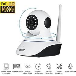 Cámara IP de Vigilancia, Cámara de Seguridad Inalámbrica Wi-Fi P2P Red inalámbrica Video a Través de PC y Smartphone (Windows & iOS & Android), Cámara Video Vigilancia HD 1080p con Vision Nocturna, Micrófono y Altavoz + 64G capacidad máxima