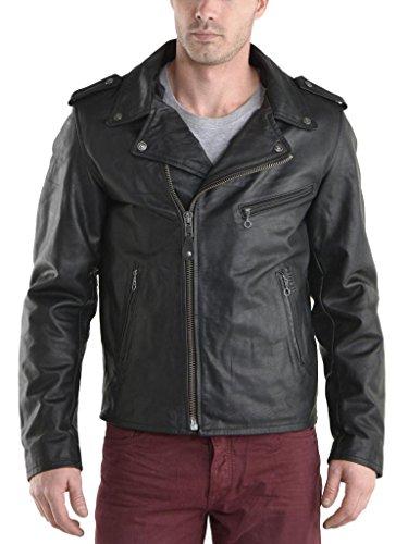 Herren Leder Jacke Biker Motorrad Mantel Slim Fit Jacken, auk054 Gr. Small, schwarz (Herren Leder-junction-jacke)