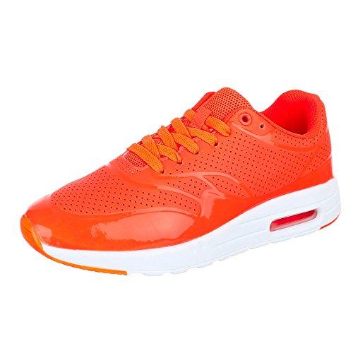 Damen Schuhe, 906-14, FREIZEITSCHUHE SNEAKERS TURNSCHUHE Orange