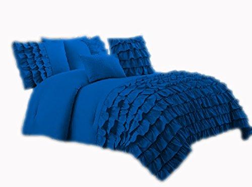 Wasserfall SCALABEDDING Half Ruffle Bettwäsche TC ägyptische Baumwolle 600 Queen Royal Blue (Queen Royal Bettwäsche Blue)