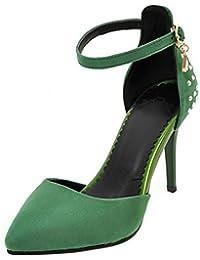 COOLCEPT Mujer Moda Correa de Tobillo Sandalias Tacon Delgado Alto Cerrado Zapatos Tamano
