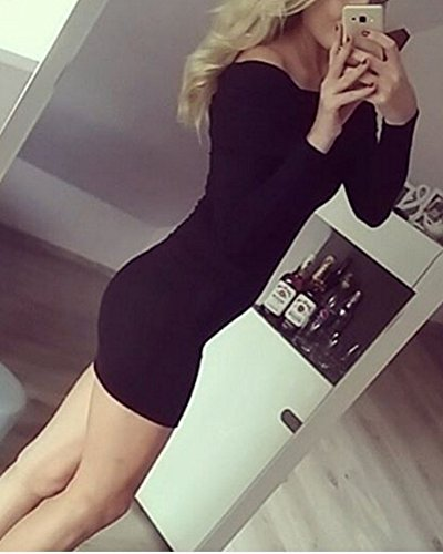 Femme Robe Extensible Longues Manches Revers Slim Fit Robe Pull Noir