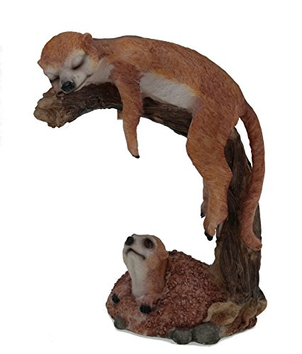 Erdmännchen auf Ast Figur Gartenfigur Tierfigur Familie