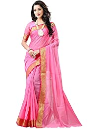 Naari Vastram Women's Cotton Silk Jacquard Printed Lace Border Pink Plain Saree With Blouse Piece (Pink N-401)