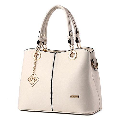 Wewod PU Leder Handtaschen Fashion Schultertasche Cross Body Handtaschen für Frauen (Weiß)
