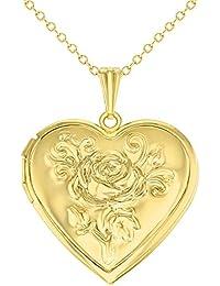"Tono de oro rosa de corazón con camafeo de fotos, diseño de flores Love colgante collar 19"""