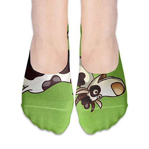 Eybfrre No Show Socks Funny Cartoon Cows Print Low Cut Liner Socks Casual Hidden Thin Socks for Women Mid Cut Uniform
