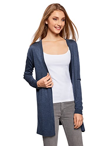 oodji Ultra Damen Verschlussloser Strickcardigan, Blau, DE 40 / EU 42 / L (Baumwolle-strickjacke Leichte)