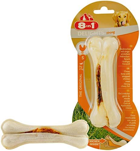 8in1 Delights Chicken Kauknochen Strong Größe S (für extra stark, kräftig kauende, kleine Hunde von 2 bis 27 kg, hochwertiges Hähnchenfleisch eingewickelt in Rinderhaut), 1 Stück (55 g) - 6