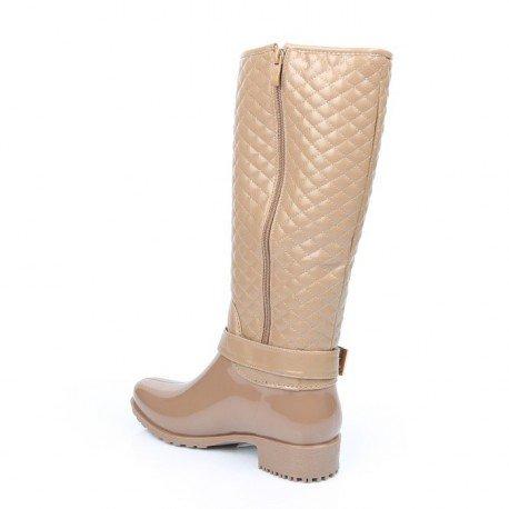 Ideal Shoes - Bottes de pluie avec partie matelassée et ceinturon Maelle Taupe