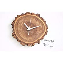 PatTheClock Retro Reloj De Pared, 345 mm Tamaño Creativo Eco Madera Maciza Natural Vintage Anillo