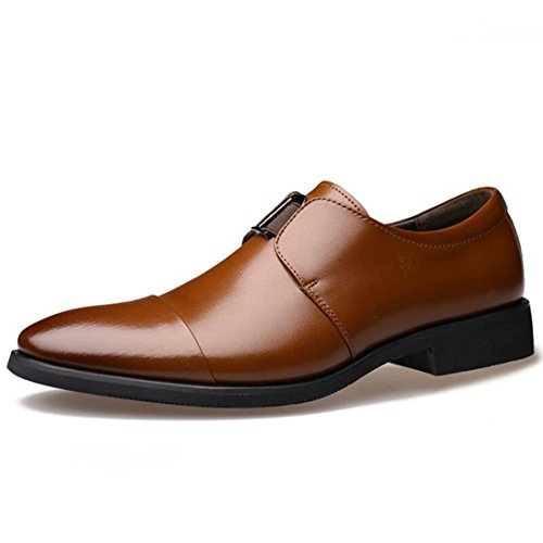 Men's Patent Leather Pointed Toe Slip On Formal Shoes brown