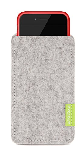 WildTech Sleeve für Apple iPhone 7 / 6S / 6 mit Apple Leder Case / Silikon Case - 17 Farben (made in Germany) - Hellgrau Hellgrau
