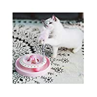 Aszhdfihas Cat Training Toy Cat Toys Catball Intellectual Turntable Springs Tease Cat Bells Pp Resin Give Your Cat Gift Cat Retractable Wand (Color : Pink, Size : Free size)