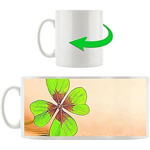 Four Leaf Clover, tazza Motif in bianco 300ml ceramica, grande idea regalo per ogni occasione. La tua nuova tazza preferita per caffè, tè e bevande calde. - Four Leaf Clover Regalo