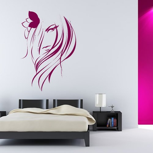 Azutura parrucchiere adesivo da parete bellezza delle ragazze adesivo parrucchieri home decor disponibile in 5 dimensioni e 25 colori x-grande fucsia rosa