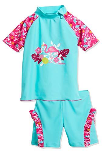 Playshoes Baby-Mädchen UV-Schutz Bade-Set Flamingo Badebekleidungsset, Türkis (Türkis 15), 122 (Herstellergröße: 122/128)