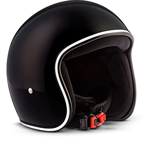 "Rebel R2 ""Shiny Black"" · Jet-Helm · Motorrad-Helm Roller-Helm Scooter-Helm Bobber Mofa-Helm Chopper Retro Cruiser Vintage Pilot Biker Helmet · Fiberglas Schnellverschluss SlimShell Tasche L (59-60cm)"
