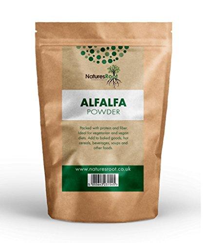 Natures Root Reines Alfalfa Pulver (Luzerne) 500g - Reich an Nährstoffen | Premiumklasse | Unterstützt Nieren & die Verdauungsgesundheit