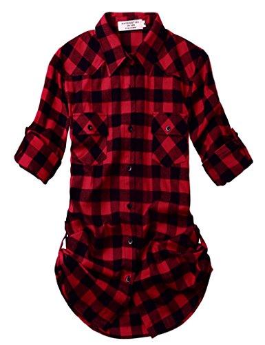 Match Damen Langarmhemd Flanell Karierte Bluse Plaid Shirt #B003(2021 Checks#1,Small) (Button-down-flanell)