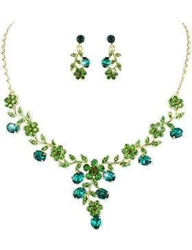 EVER FAITH® österreichischen Kristall elegant Blume Art Deco Halskette mit Ohrring Schmuck-Set Grün Gold-Ton N03848-6