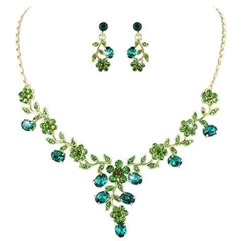 EVER FAITH® österreichischen Kristall elegant Blume Art Deco Halskette mit Ohrring Schmuck-Set Grün Gold-Ton (Grüne Braut Schmuck)