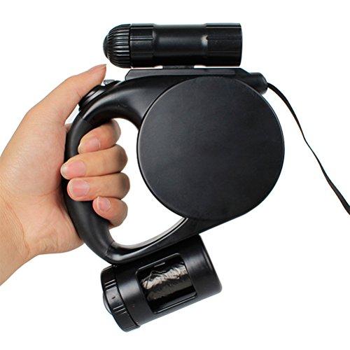 ueetek ausziehbare Hundeleine 5m mit Taschenlampe LED und Rucksack Abfälle für Hunde CON Spender 3in 1 (Hundeleine Abfall-tasche Für)