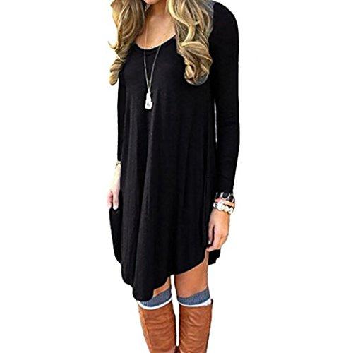 Damen Abend-shirt (V-Ausschnitt Kleid, Huihong Frauen Langarm Abend Party Kleid LäSsig Lose Minikleid T-Shirt Kleid Cocktail Rock (Schwarz, XL))