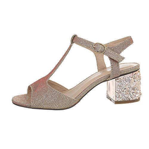Ital-Design Damenschuhe Sandalen & Sandaletten High Heel Sandaletten Synthetik Gold Rosa Gr. 39 (Gold Und Weißen Kleid)