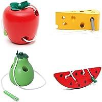 STOBOK 4 unids Cordón de Madera Juguetes de roscado de Frutas Bloque de Madera Juego de Viaje Aprendizaje temprano Habilidades motoras Finas Regalo Educativo